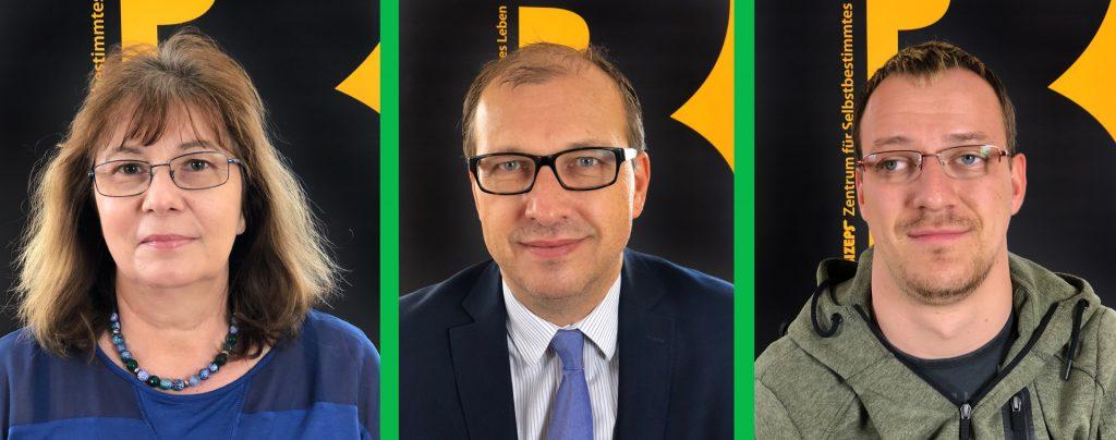 Die Interviewpartner als Portraitfotos von barrierefrei gesund. Von links nach rechts Veronika Pichler, Thomas Holzgruber, Gregor Steininger