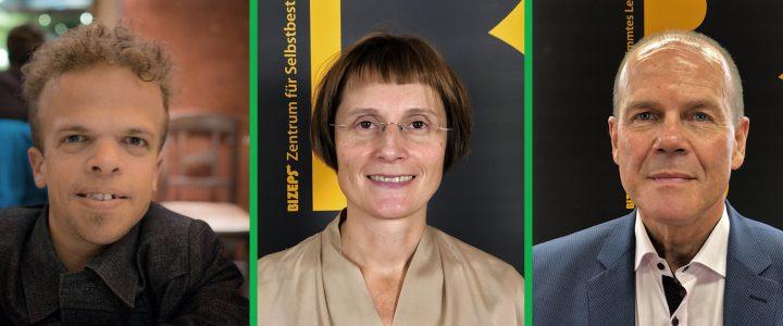 Die Interviewpartner als Portraitfotos von barrierefrei gesund. Von links nach rechts Andreas Pöschek, Erika Plevnik, Peter Dobcak