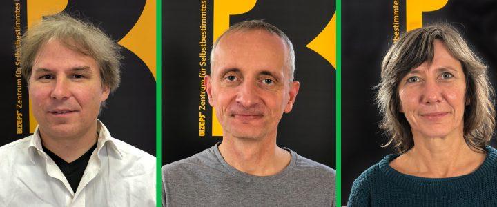 Die Interviewpartner als Portraitfotos. Von links nach rechts: Martin Schenk, Robert Mittermair und Birgit Hebein.