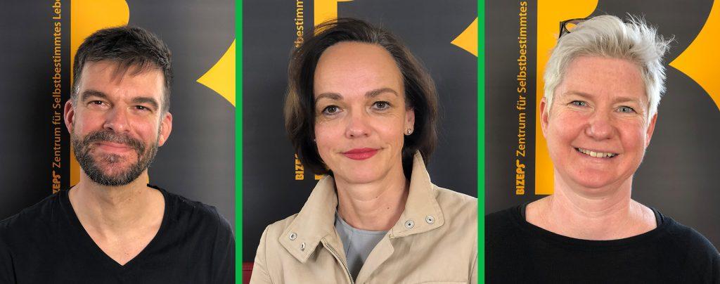 Die Interviewpartner als Portraitfotos. Von links nach rechts: Tobias Buchner, Sonja Hammerschmid, Andrea Rieger