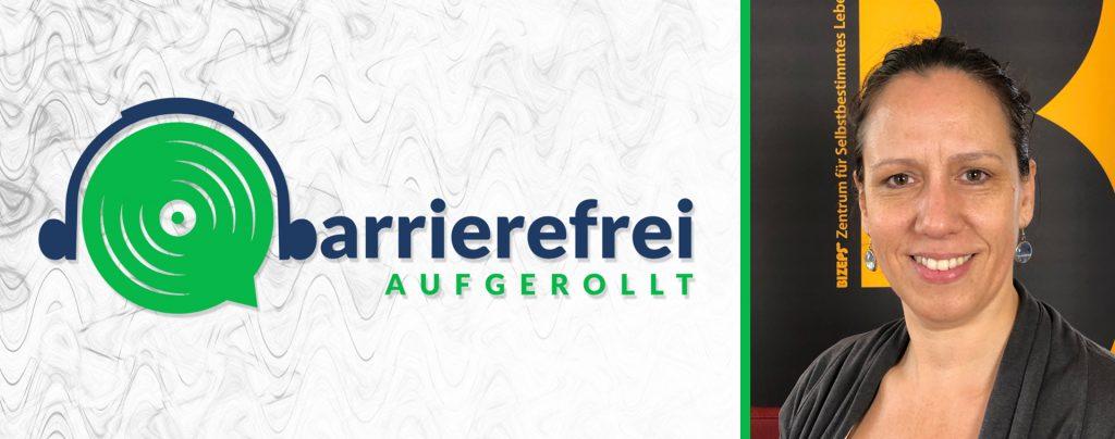Die linken 2 Drittel sind das Logo von barrierefrei aufgerollt, ein Kopfhörer der auf einem Lautsprecher sitzt und das b geht über zu barrierefrei aufgerollt. Das rechte Drittel ein Portrait von Petra Plicka.