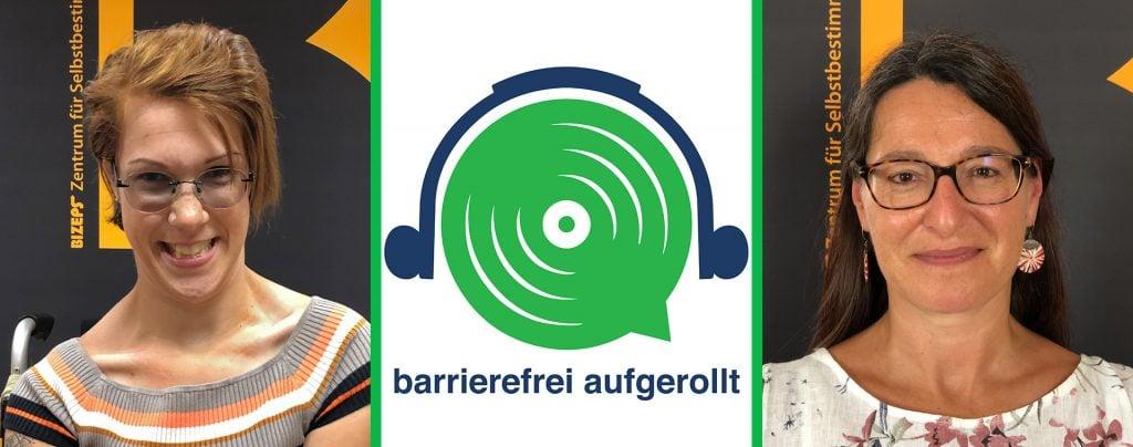 Links im Portrait Natascha Toman, in der Mitte das grüne Lautsprecherlogo mit Text barrierefrei aufgerollt, rechts das Portrait von Luitgard Wieser