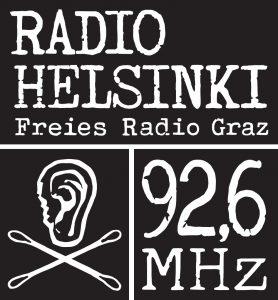 Logo Radio Helsinki Freies Radio Graz, eine Ohrmuschel mit zwei Wattestäbchen, daneben 92,6 MHz