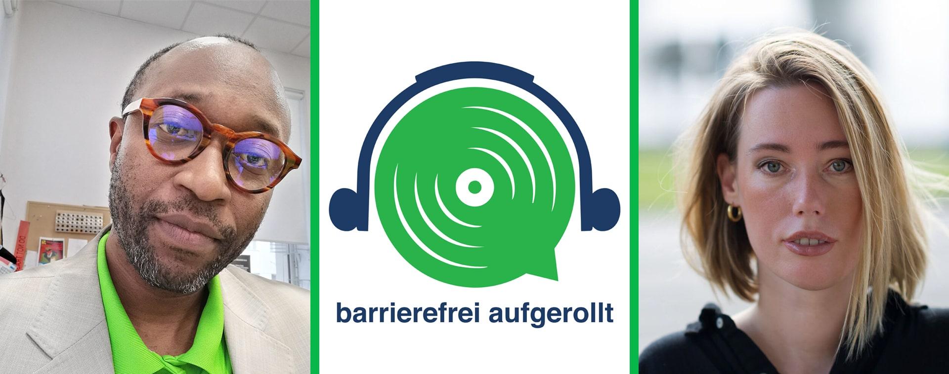 Links im Portrait Simon Inou, in der Mitte das grüne Lautsprecherlogo mit Text barrierefrei aufgerollt, rechts das Portrait von Laura Gehlhaar