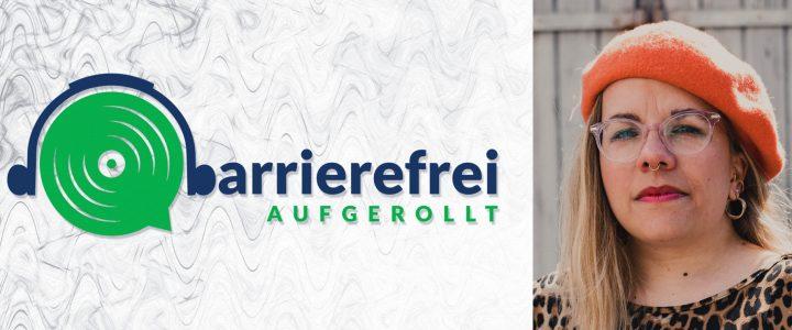 Die linken 2 Drittel sind das Logo von barrierefrei aufgerollt, ein Kopfhörer der auf einem Lautsprecher sitzt und das b geht über zu barrierefrei aufgerollt. Das rechte Drittel zeigt ein Portraitfoto von Ninia LaGrande.
